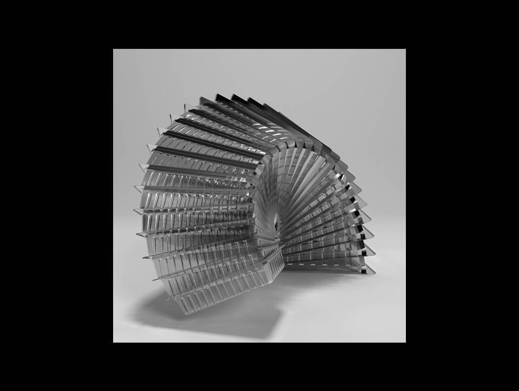 »Verpackungen« beruht auf 2D-Vektorskizzen einer Firma für Kunststoffverpackungen. Diese wurden dreidimensional nachgebaut und in einem virtuellem Raum neu inszeniert.  Daraus ergibt sich eine Wirkung, die nur noch wenig an ein standardisiertes Wegwerf- und Massenprodukt, sondern eher an Architektur oder Hightechgeräte erinnert.