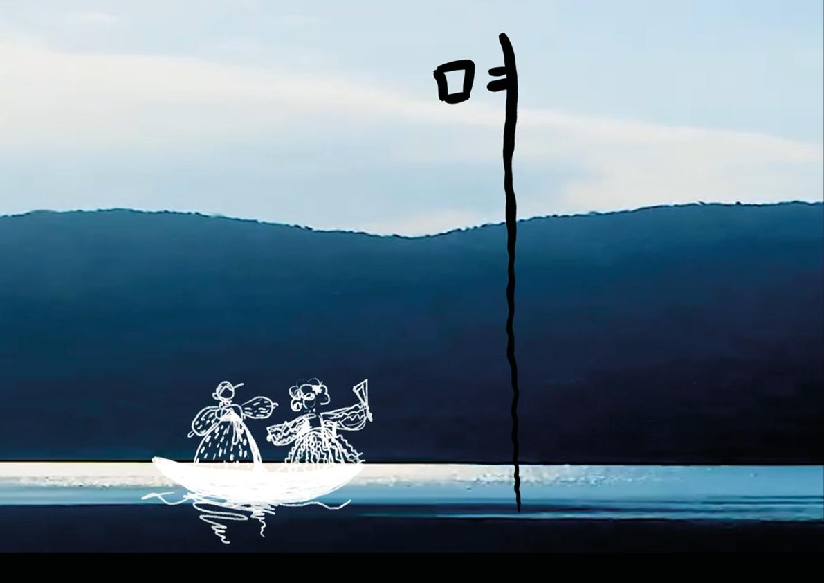 """Youngseo Park / Chijochang """"Warum ist der Berg blau"""" / Die erste ist die Note für die Trommel, die zweite ist für den Sänger und die letzte Information ist der Liedtext. Die Noten für die Trommel stehen im Hintergrund wie die Natur, weil das Lied von der Natur erzählt."""